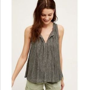Anthropologie Pleated Tie Front Top